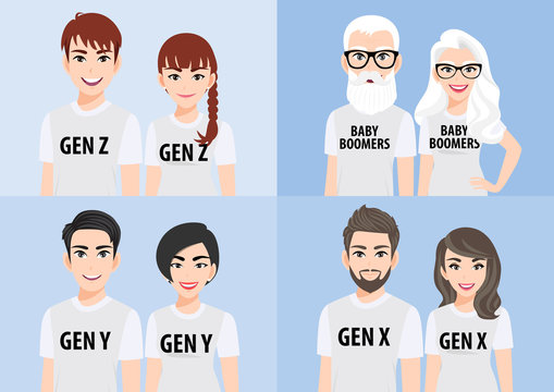 Cartoon character with generations concept. Baby boomers, generation x, generation y or millennial, generation z. Family people in white T-shirt casual on blue background, flat icon design vector