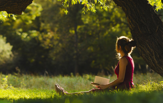 sunny portrait of a beautiful girl sitting on green glade under an arch of tree branches with book, woman reading novel on nature, concept hobby and lifestyle