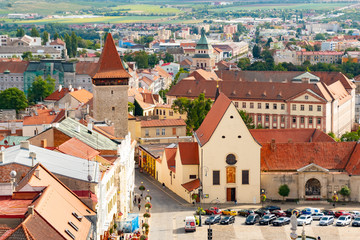 Beautiful picturesque cityscape of historic medieval town Znojmo, Czech Republic, Europe