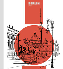 Berlin, sketch of the city with of the Berlin TV Tower in poster design