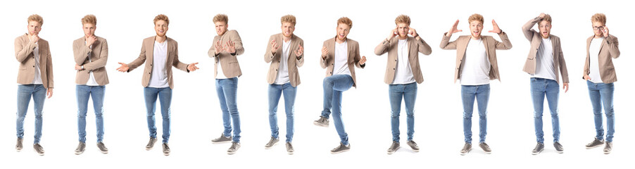 Collage with handsome young man showing different emotions on white background
