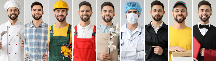 Collage with young man in uniforms of different professions Wall mural