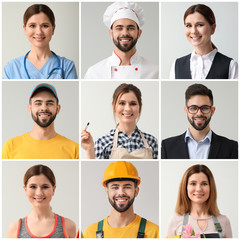 Collage with people in uniforms of different professions