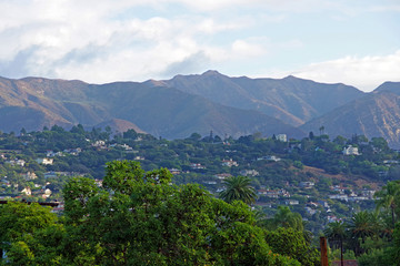A panoramic high elevation overview over the Santa Barbara east side with the Santa Ynez mountain range in the back