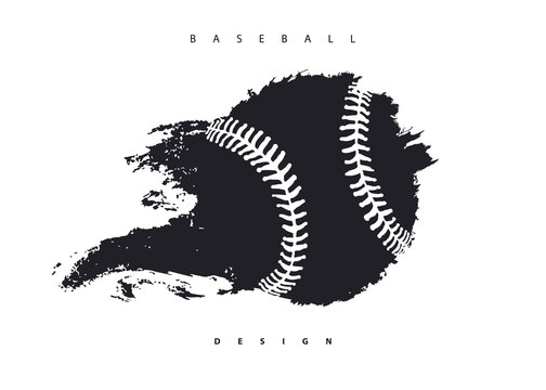Flying abstract baseball ball isolated. Print design for t-shirt, poster, flyer. Grunge style, hand drawing.