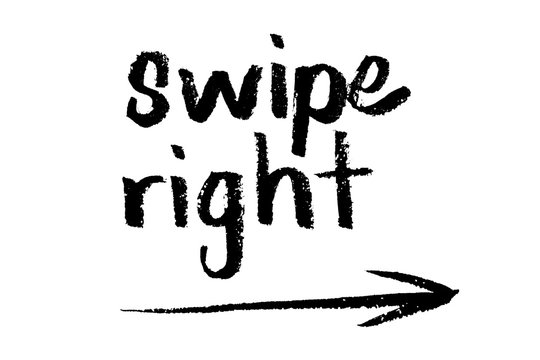 Swipe right hand drawn text arrow instructions for internet website