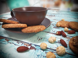 Almonds, hazelnuts and whole grain cookies for breakfast