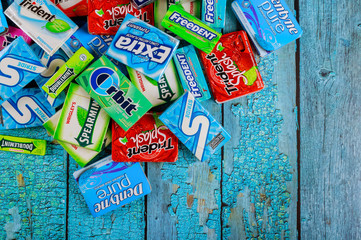 Various chewing gums brands Orbit, Extra, Eclipse, Freedent, Wrigley, Spearmint, Tident, Stride lot of chewing gum packages