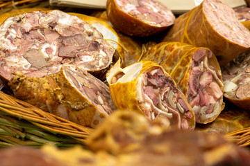 Toba de porc - Sliced pork meat products, traditional romanian food at winter Christmas market
