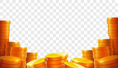 Stack of coins. Gold coins. Lots money. Casino coin cash or bank currency investment heap. Place for text. Template. Isolated vector illustration
