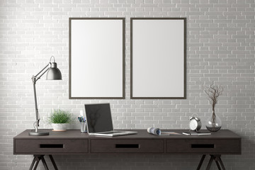 Workspace with two vertical poster mock ups on white brick wall. Desk with drawers in interior of the studio or at home. Clipping path around poster. 3d illustration.