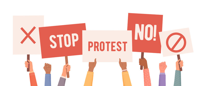 People protest. Hands holding posters. People with posters protest. Collection of hands holding empty signs. Vector illustration