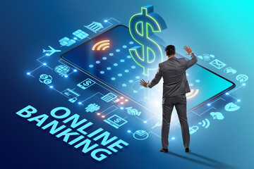 Online banking concept with businessman