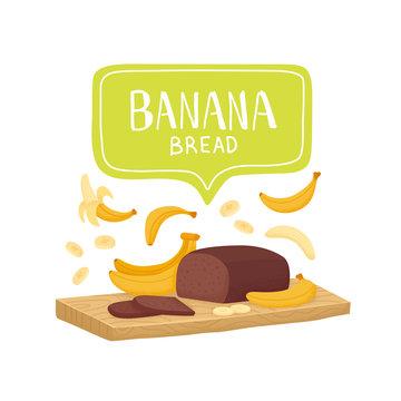 Banana bread. Homemade banana bread. Vector illustration
