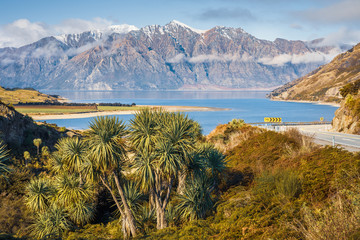 Lake Hawea and Dingle Peak from the Neck, South Island, New Zealand