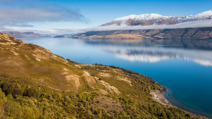 Scenic view of Lake Wanaka from the Neck looking southwards, South Island, New Zealand