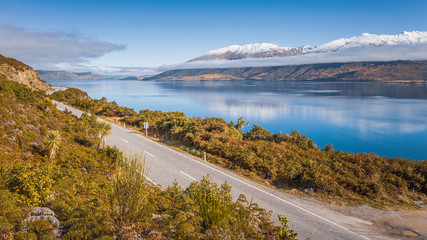 Awesome. view of Lake Wanaka and the road running along the western shore, South Island, New Zealand