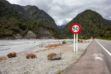 Road sign on the drive to Franz Josef Glacier