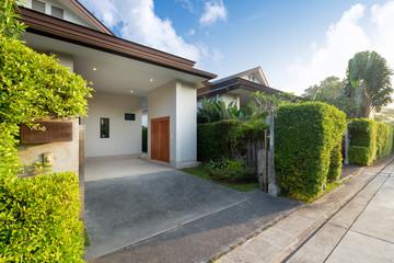 Fototapeta Carport of modern and luxury house obraz