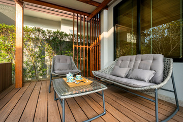 Outdoor seat by pool terrace