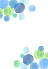 水彩(丸、ブルー系)のフレーム