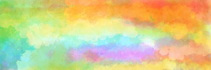 Wall Mural - Colorful watercolor background of abstract sunset sky with puffy clouds in bright rainbow colors of red orange green blue yellow and purple