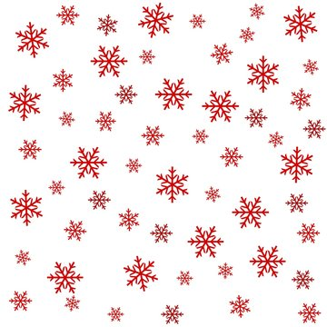 seamless pattern with snowflakes vector drawing, white background, red colors