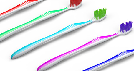 No trademarks. My own design of toothbrush. 3D Illustration.