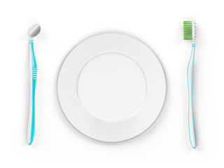 No trademarks. My own design of the toothbrush and the dental mirror. 3D Illustration.