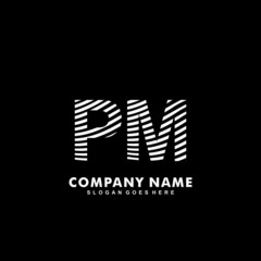 Initial letter PM zebra style wood texture template logo