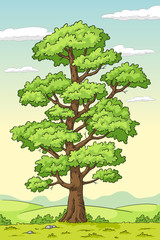 Wall Mural - Big summer tree. Hand drawn vector illustration with separate layers.