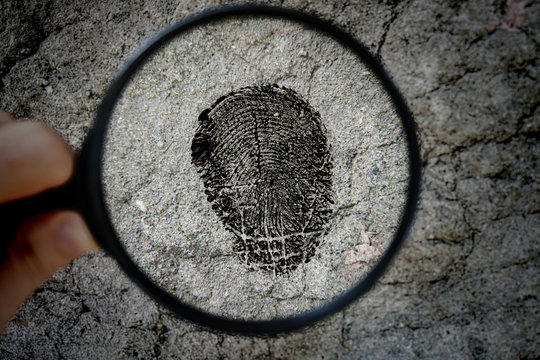 a crime investigation, a magnifying glass and the fingerprint on the surface texture
