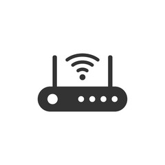 Wifi router icon in flat style. Broadband vector illustration on white isolated background. Internet connection business concept.