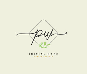 P W PW Beauty vector initial logo, handwriting logo of initial signature, wedding, fashion, jewerly, boutique, floral and botanical with creative template for any company or business.