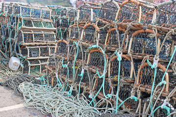 Lobster pots on a quay