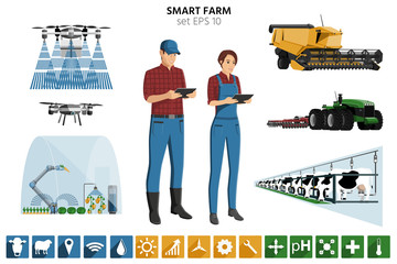 Wall Mural - Smart farming set. Modern farmers with digital tablet, autonomous harvester, tractor, drone, greenhouse with robot, automated milking. Elements for design and infographics. Vector illustration EPS 10
