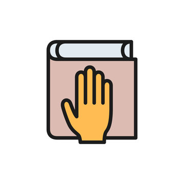Oath on bible, constitution flat color icon.