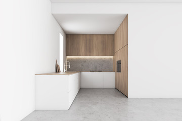 Modern white and wood kitchen with countertops