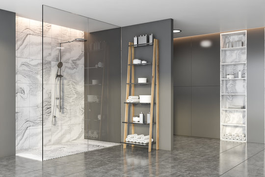 Grey and marble bathroom with shower stall
