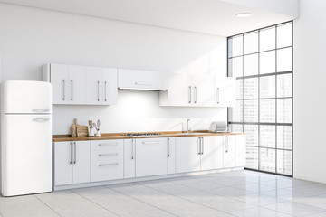 Stylish white kitchen corner, counters and fridge