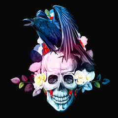 Canvas Prints Watercolor Skull Stylized vintage illustration of raven on skull with flowers roses background on black. Hand drawn, vector - stock.