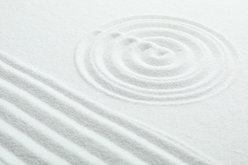 White sand with pattern. Zen and harmony
