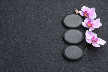 Tuinposter Orchidee Flat lay composition with stones and orchid flowers on black sand, space for text. Zen concept