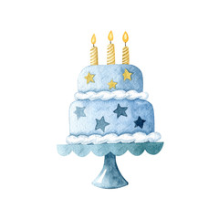 Watercolor cake with three candles  isolated on white background. Happy birthday, baby shower celebration concept.  Hand drawn clipart for greeting card, invitations, banners. Handmade illustration.