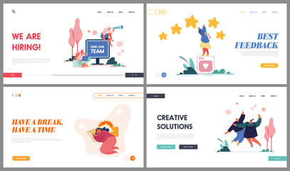 Head Hunting, Feedback Service, Creative Solution and Break Time Website Landing Page Set. Character Hiring Human Resources, Rating Stars, Girl Sleep Web Page Banner. Cartoon Flat Vector Illustration