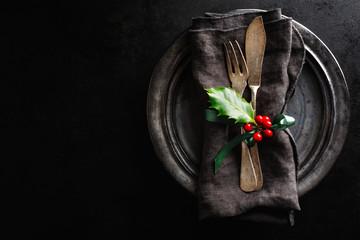 Christmas vintage rustic cutlery
