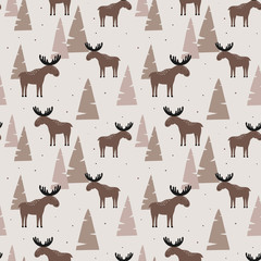 Seamless pattern with elk in a wood. Vector illustration. Design can be used for textiles, wallpaper, clothing, wrapping paper.