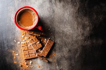 Fototapeten Schokolade Closeup of hot chocolate in cup