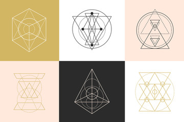 Vector sacred geometry shapes logotype designs set