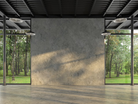 Industrial loft style empty room with blank concrete wall 3d render,There are polished concrete floor and wall,black steel structure,There are large windows look out to see the nature